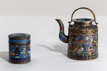 A CLOISONNÉ-ENAMEL BOX AND COVER AND TEAPOT WITH DECOR OF ANTIQUITIES, China, 19th ct. - Minor wear,