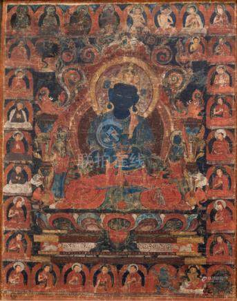 A FINE THANGKA OF VAJRADHARA, Tibet, 15th ct., the centre depicting the blue Vajradhara seated in va