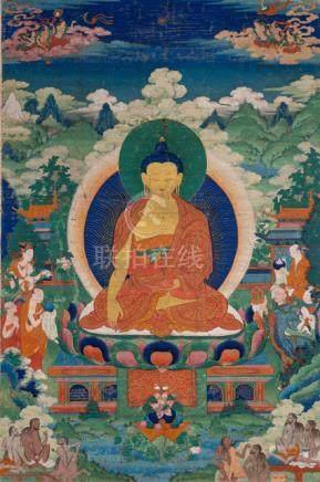 A FINE AND RARE THANGKA OF BUDDHA SHAKYAMUNI AND THE 4th MYRICAL OF SHRAVASTI, Central Tibet, 18th c