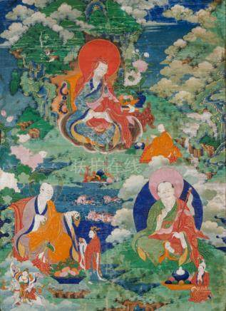 A FINE THANGKA OF THE ARHATS AJITA, AKLIKA AND VANAVASIN, Tibet, 18th ct., framed under glass. Arhat