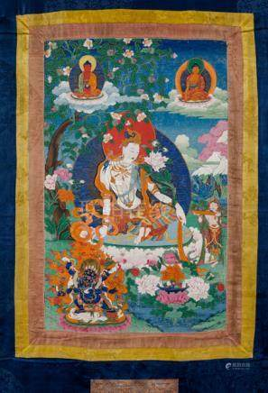 A FINE THANGKA OF KHASARPANA-PADMAPANI, Tibet, 18th/19th ct., brocade mounts. He is depicted here si