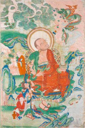 A RARE THANGKA OF THE ARHAT NAGASENA, East Tibet, Khenri tradition, 19th ct. Nagasena is depicted si