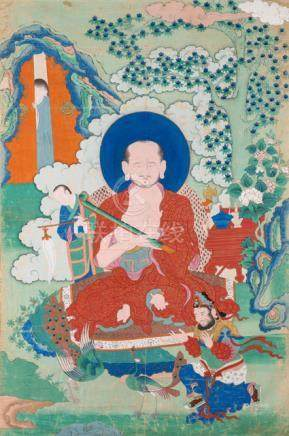 A FINE AND RARE THANGKA OF THE ARHAT CHUDAPANTAKA, East Tibet, Khenri tradition, 19th ct. This depic