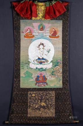 A FINE AND RARE THANGKA OF THE WHITE TARA, East Tibet, 18th/early 19th ct., silk mounts. White Tara,