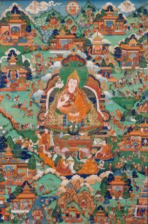 A FINE THANGKA OF THE FIFTH DALAI LAMA, Tibet, late 18th ct. Framed. Depicting the life of Dalai Lam