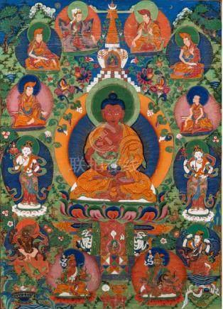 A FINE THANGKA OF THE MEDICINE BUDDHA ASHOKOTTAMASHRI, Bhutan, late 18th ct., silk mounts. This than