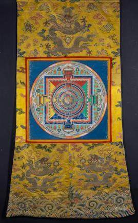 A FINE AND RARE SAMVARA MANDALA, Mongolia, 19t ct., tempera and gold on cotton cloth, Chinese silk m