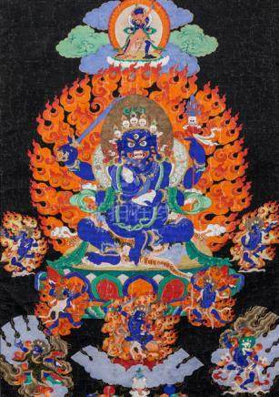 A THANGKA OF CATURBHUJA MAHAKALA, East Tibet, late 18th/early 19th ct., framed. Depicted in the cent
