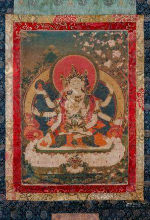 A THANGKA OF USHNISHA VIJAYA, Tibet, 19th ct. Often depicted in the triad of longevity together with