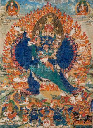 "A THANKGA OF YAMANTAKA, Tibet, late 18th ct., mounted on board. Depicted here as Yamantaka, ""who end"