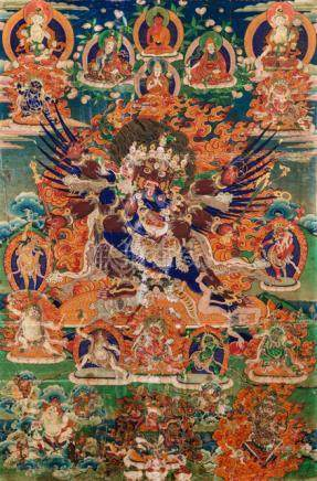 A THANKGA OF HAYAGRIVA, Tibet, 19th ct., framed. Depicted here with powerful Garuda wings and the ty