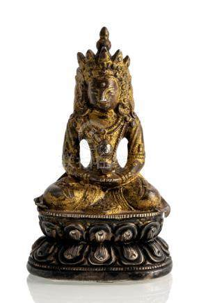 A GILT-SILVER FIGURE OF AMITAYUS, CHINA, 18th ct., seated in vajrasana on a lotus base with both han