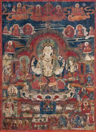 A THANGKA OF SADAKSHARILOKESHVARA, LADAKH, 16th/17th ct., framed and glazed. The centre with Sadaksh