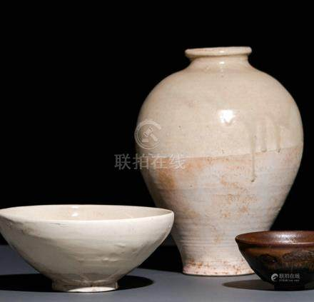 A CREAM-GLAZED BOWL AND A GREY-GLAZED VASE, China, the bowl Yuan dynasty - Formerly property from a
