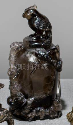 A SMOKY QUARZ COVERED VESSEL, China, 19th ct. The cover in the shape of a sitting bird, the vessel w