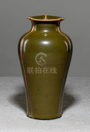 A TEADUST-GLAZED PORCELAIN VASE, China, Yongzheng seal mark, 19th ct. - Former private collection Er
