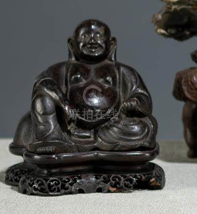A BRONZE MODEL OF BUDAI, China, 17th/18th ct., carved wood stand - Property from an old European pri