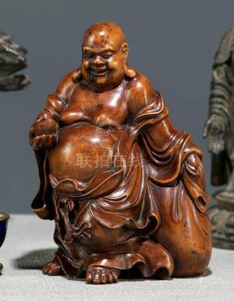 A WELL CARVED BOXWOOD FIGURE OF STANDING BUDAI, China, late Qing dynasty - Property from a European