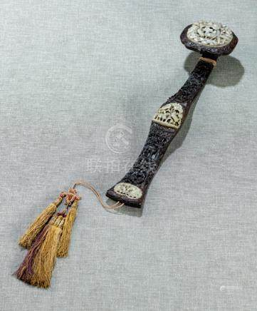A WELL CARVED HARDWOOD RUYI SCEPTER WITH INLAID CARVED JADE PANELS, China, the jades Yuan/Ming dynas