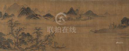 In the Style of Guo Xi (ca. 1000-1090), Travelers among Mountains and Streams, Hand scroll, 46,5 x 5