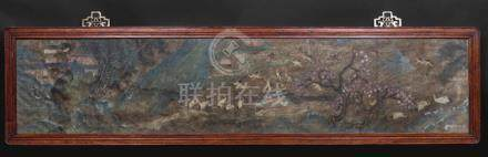 CRANES IN A LANDSCAPE, China, late Qing dynasty, part of a handscroll, ink and colors on silk, frame