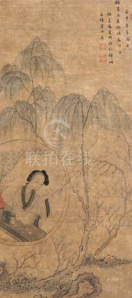Zhao Shuqing, Lady at a Round Window, China, dated 1872. Framed under glass, 70,5 x 31,7 cm, ink and