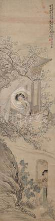 In the Style of Sha Fu (1831-1906), Lady Writing at a Garden Window, China, ca. 1900, hanging scroll