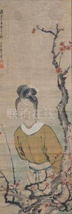 Ling Meifu, Lady with Plum Blossoms, China, dated 1877. Hanging scroll, 118 x 39,5 cm, ink and color
