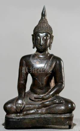 A BRONZE FIGURE OF BUDDHA SHAKYAMUNI, Thailand, Sukhothai style, ca. 19th ct., seated in sattvasana