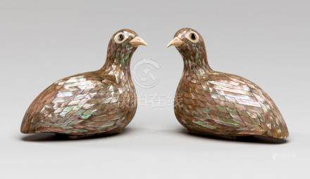A FINE PAIR OF MOTHER OF PEARL, IVORY, AND LACQUER BOXES AND COVERS, China, Qianlong four-character