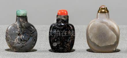 THREE AGATE SNUFFBOTTLES, China, one inscribed, Qing dynasty and later - Formerly property from the