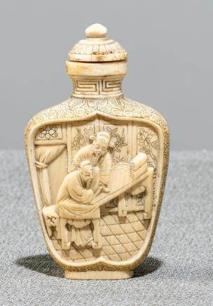 A WELL CARVED IVORY SNUFFBOTTLE WITH SCHOLAR'S AND PAGE BOY, China, late Qing dynasty - Formerly pro