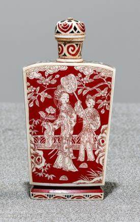 A BLACK- AND RED PAINTED IVORY SNUFFBOTTLE, Japan, Qianlong mark, Meiji period - Provenance: Collect