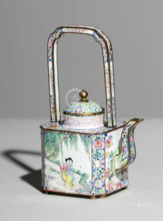 A CANTON ENAMEL TEAPOT AND COVER WITH MUSICIAN LADIES IN A GARDEN LANDSCAPE, China, 18th/19th ct. -