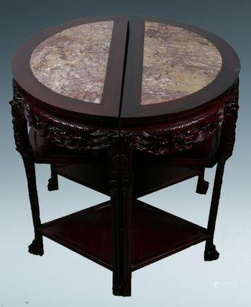 A PAIR OF DEMI-LUNE HUALI TABLE