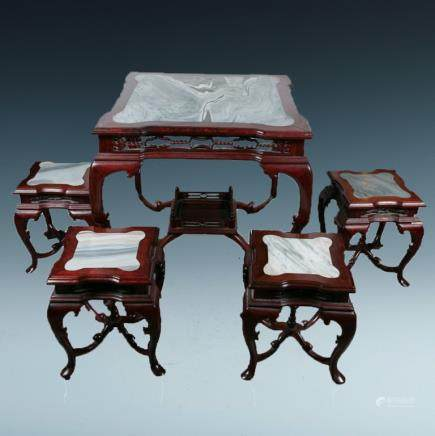 MARBLE-INLAID HARDWOOD TABLE WITH FOUR STOOLS