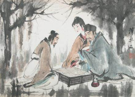 AFTER FU BAOSHI (1904~1965), FIGURES PLAYING WEIQI