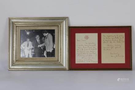 Henry Kissinger and Mr.Brzezinski Photo and Mrs.Kissnger Letter