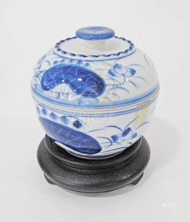 Chinese blue and white porcelain lidded jar, bearing no marks, probably early 20th century, on