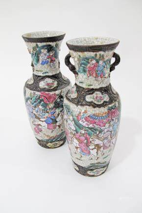 A Chinese pair of porcelain famille rose vases, crackle ground, brown bands, twin handled, one