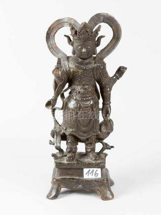 Asian bronze Sculpture, Goddess in standing position with Cupid and scarf, holding in her right hand