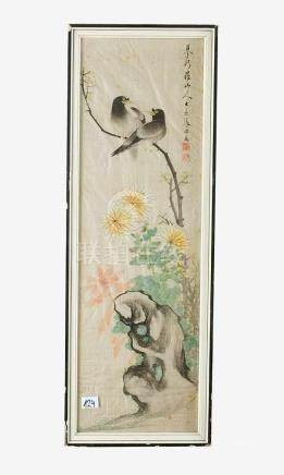 Chinese Silk Painting, with two birds on a tree in landscape, stamped and signed with script signs