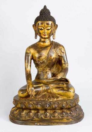 Large Indo-Chinese bronze Buddha, in sitting position with earth touch, bronze cast with hand-finish
