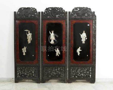 Three Japanese Panels, wooden, partly open work, carved decorations with flowers and birds,