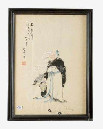 Chinese Painting, showing a man with a basket of flowers, with red artist stamp and script signs,