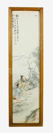 Chinese Silk Painting, showing a wise man and his scholar in landscape, signed with script signs