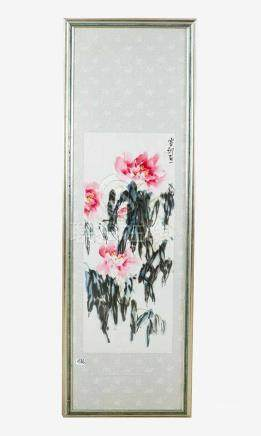 Chinese Silk Painting, showing lotus flowers, signed upper right, Indian ink and watercolour on