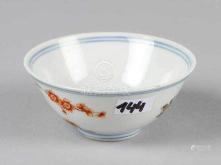 Small Chinese Bowl, porcelain with painted peach brunches and a bird, inside, outside and