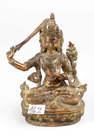 Manjushri , Bronze Cast with very fine hand-finish and engravings, on integrated lotus base,