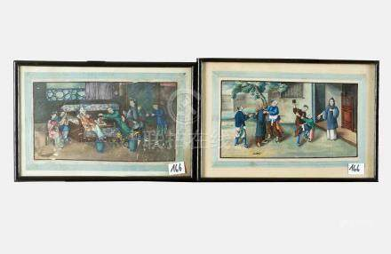 Chinese Watercolours, showing family scenes, watercolour on paper, damages, a pair, late 18th